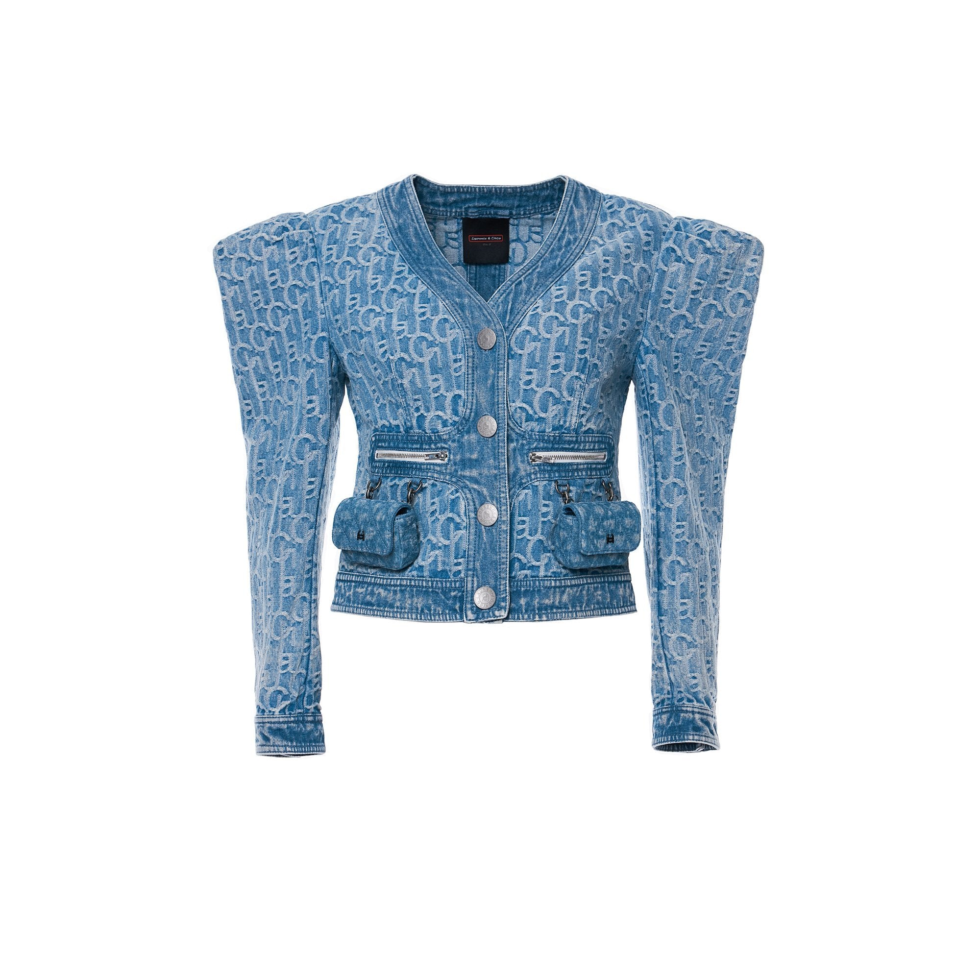 Laurence & Chico Denim Padded Bubble Sleeve Jacket Light Blue | MADA IN CHINA