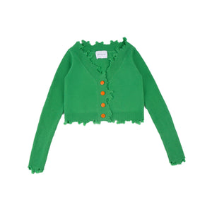 ANN ANDELMAN Destroyed Cardigan Green | MADA IN CHINA