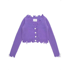 ANN ANDELMAN Destroyed Cardigan Purple | MADA IN CHINA
