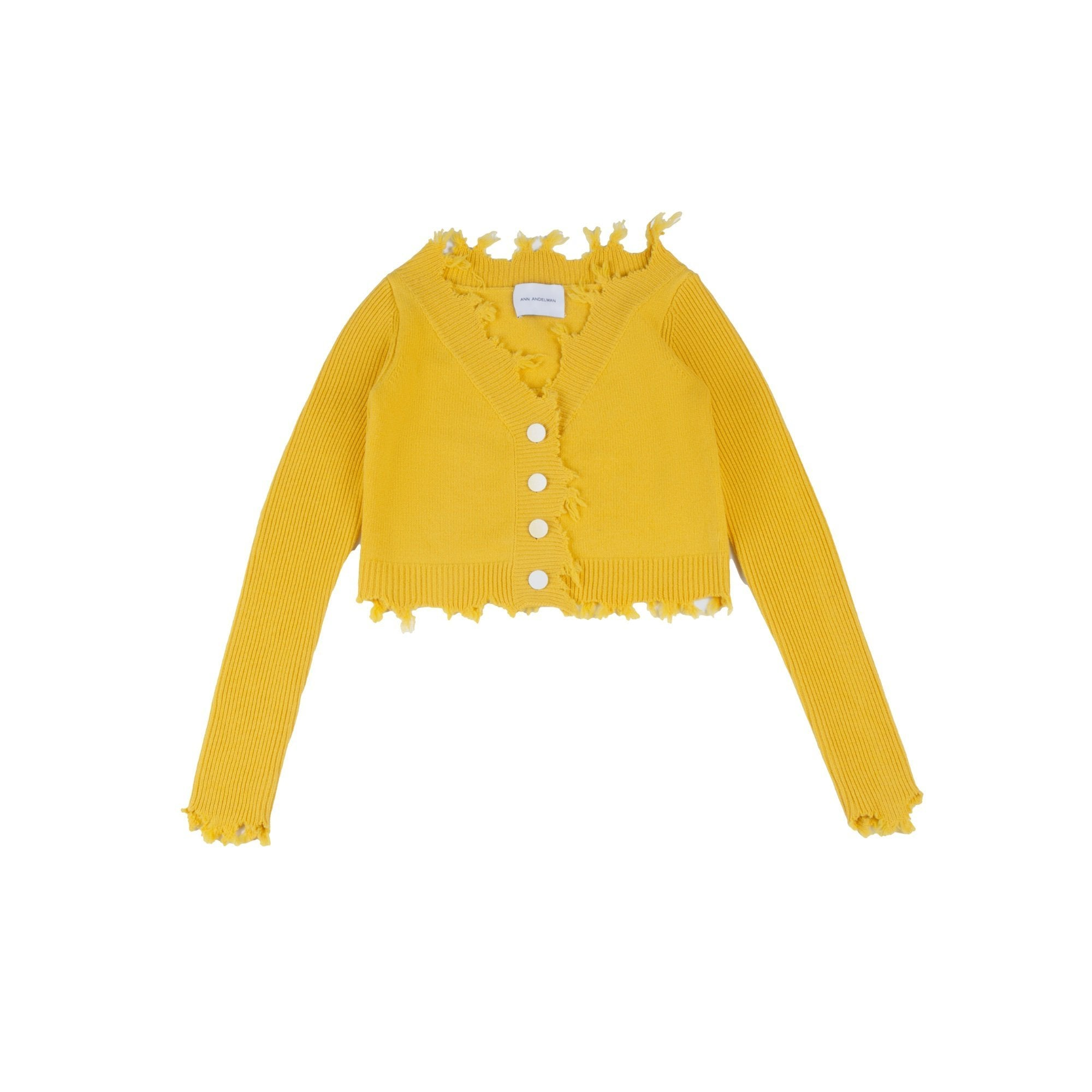 ANN ANDELMAN Destroyed Cardigan Yellow | MADA IN CHINA