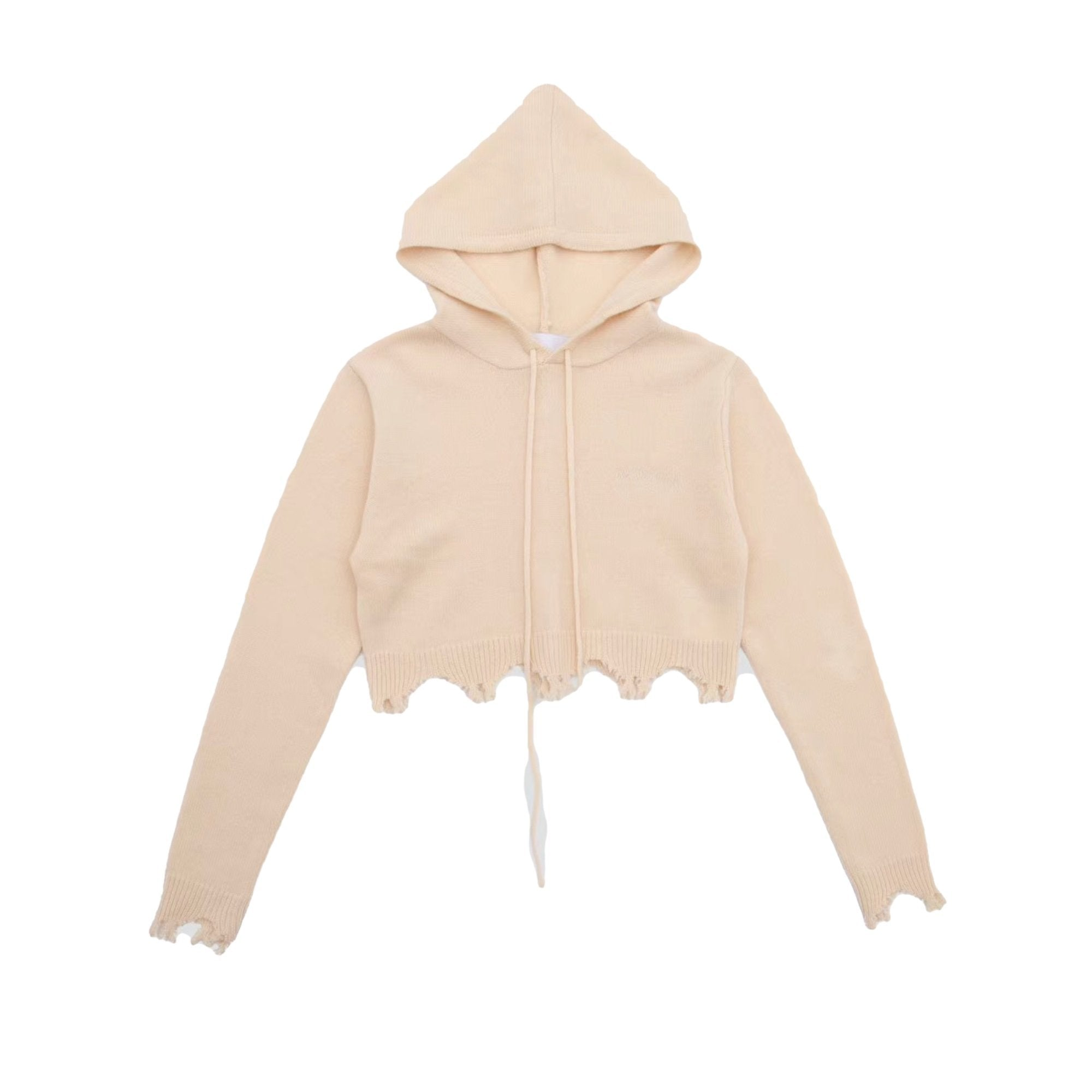 ANN ANDELMAN Destroyed Hoodie Beige | MADA IN CHINA