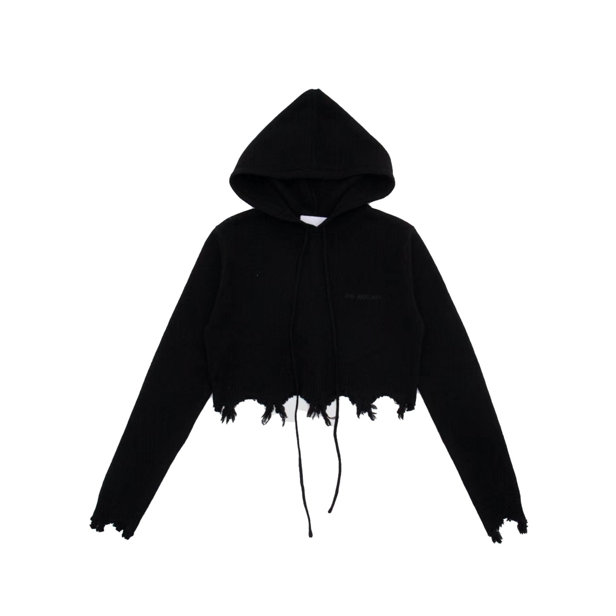 ANN ANDELMAN Destroyed Hoodie Black | MADA IN CHINA