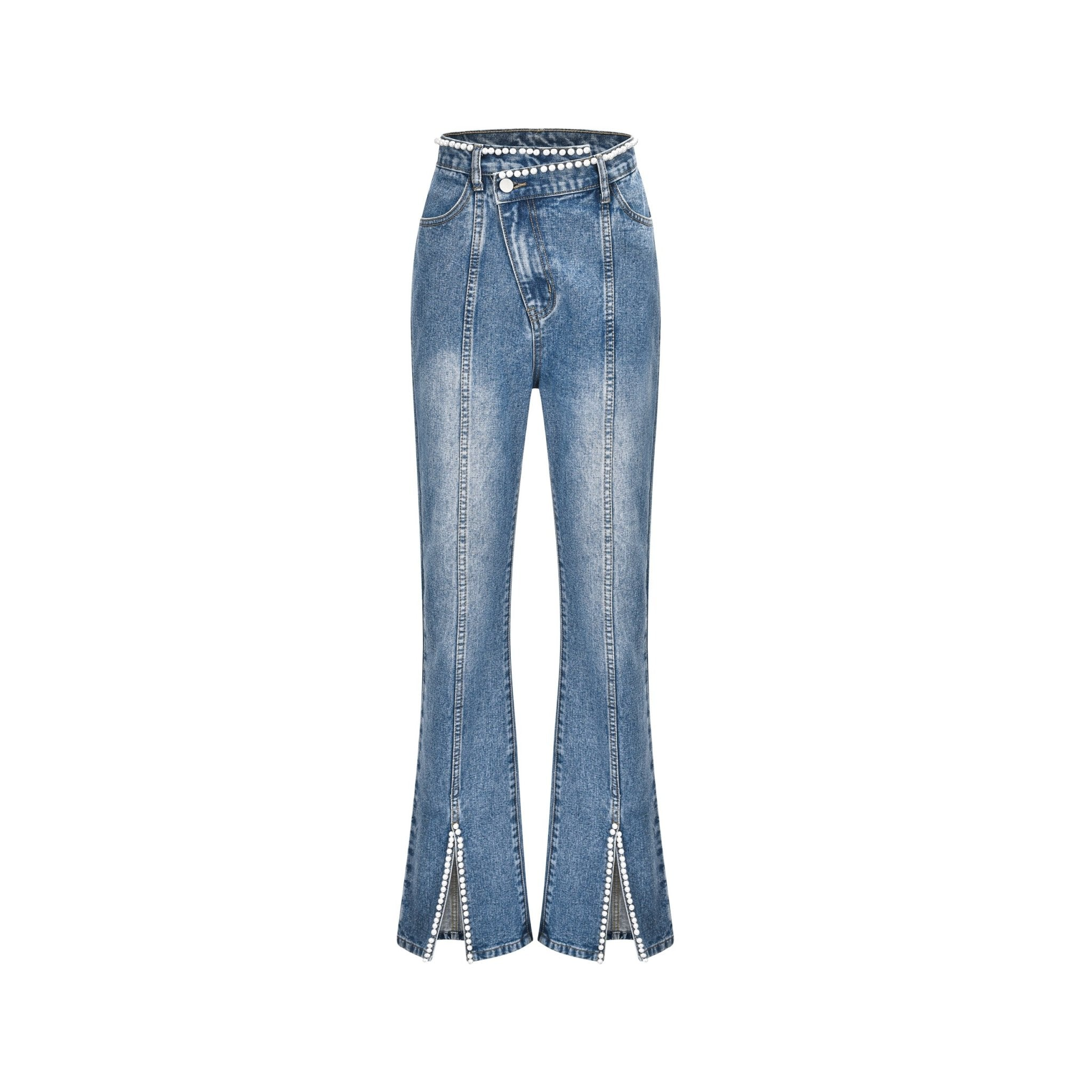 THREE QUARTERS Dislocate Waist Jeans With Pearls | MADA IN CHINA