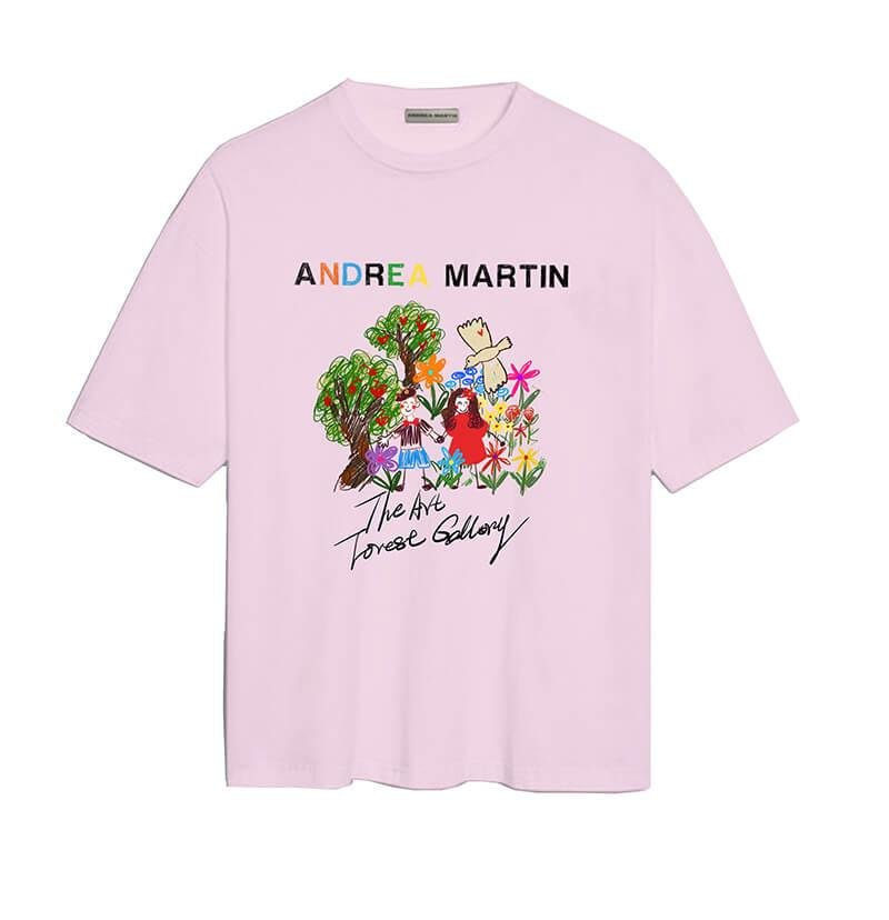 ANDREA MARTIN 'Field Trip' Oil Painting Tee Pink | MADA IN CHINA