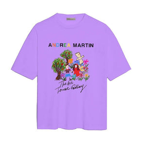 ANDREA MARTIN 'Field Trip' Oil Painting Tee Purple | MADA IN CHINA