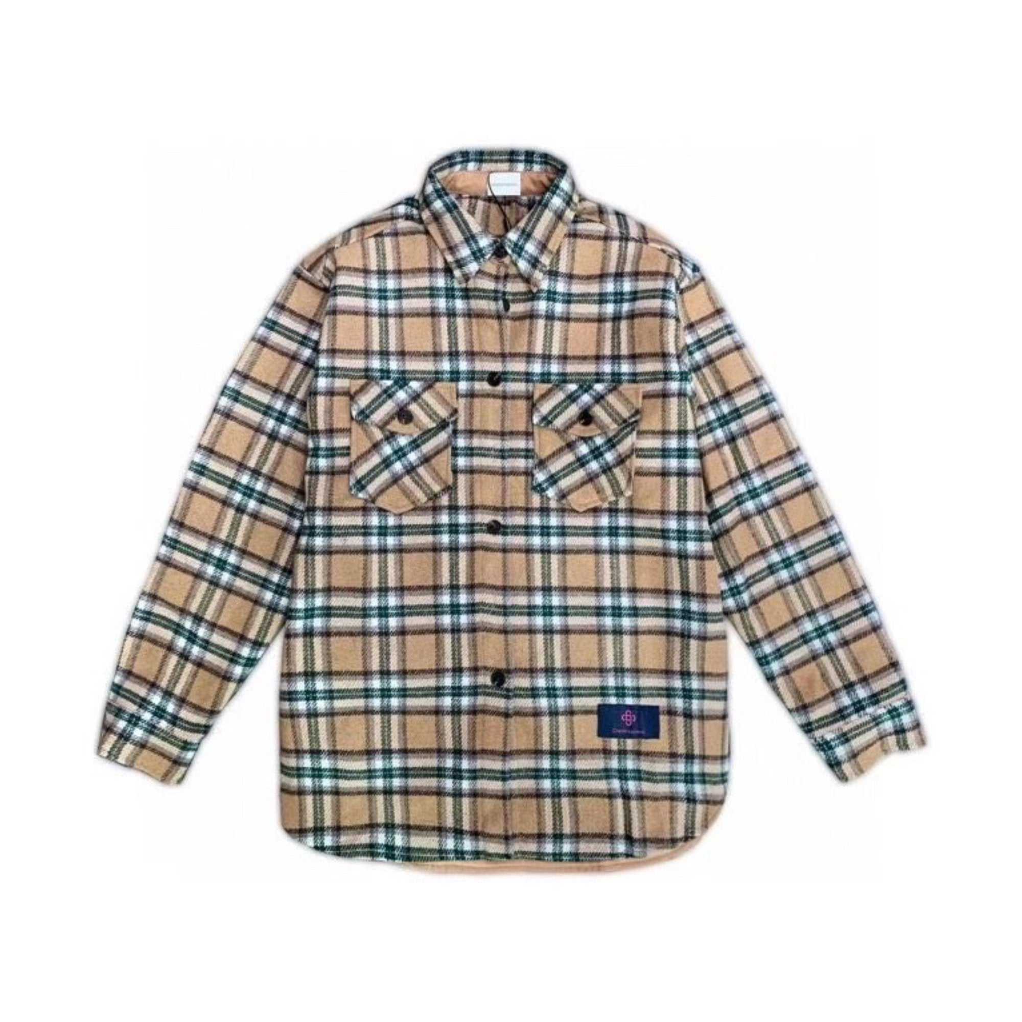 CHARLIE LUCIANO Flannel Shirt Camel | MADA IN CHINA
