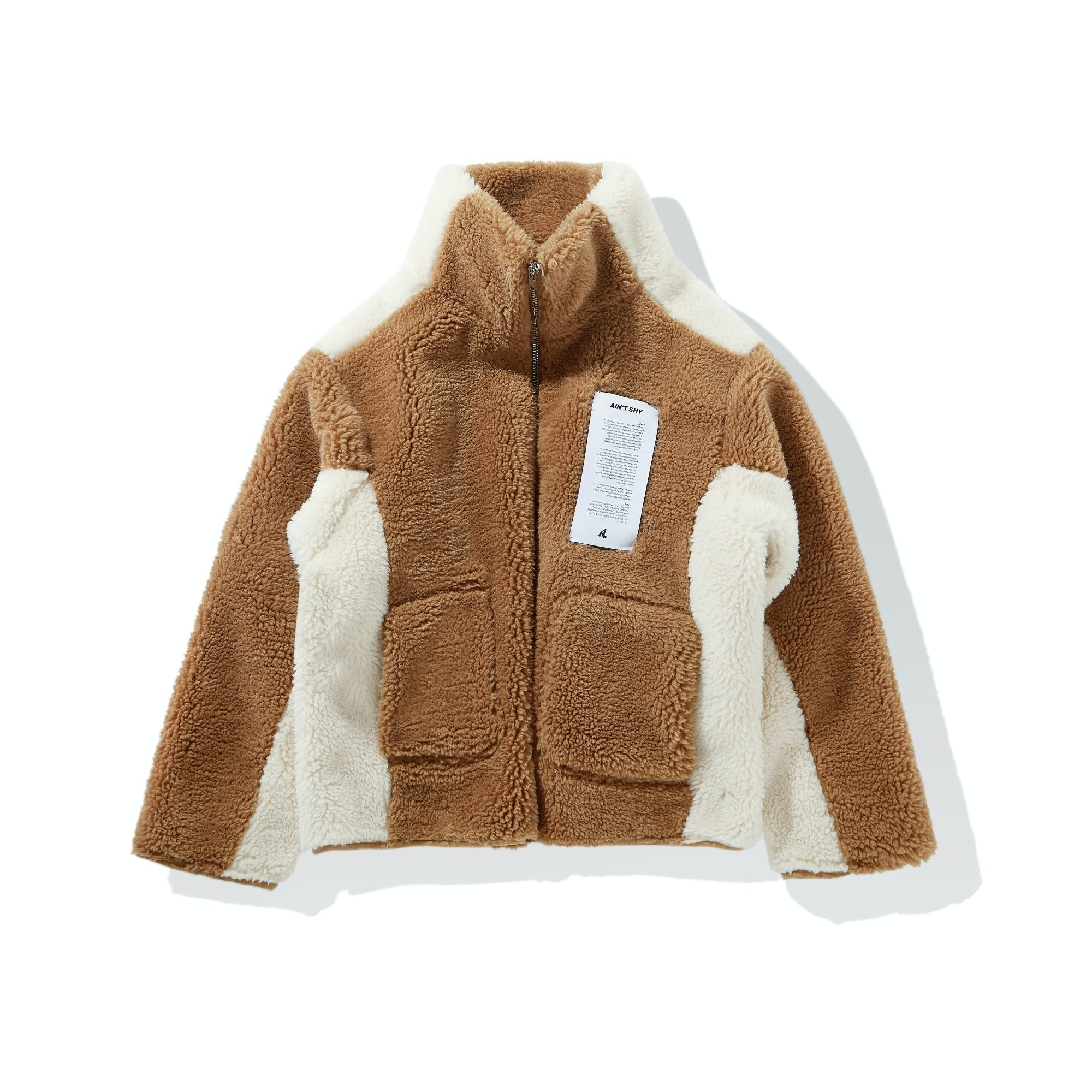 AIN'T SHY Fleece Jacket Caramel | MADA IN CHINA