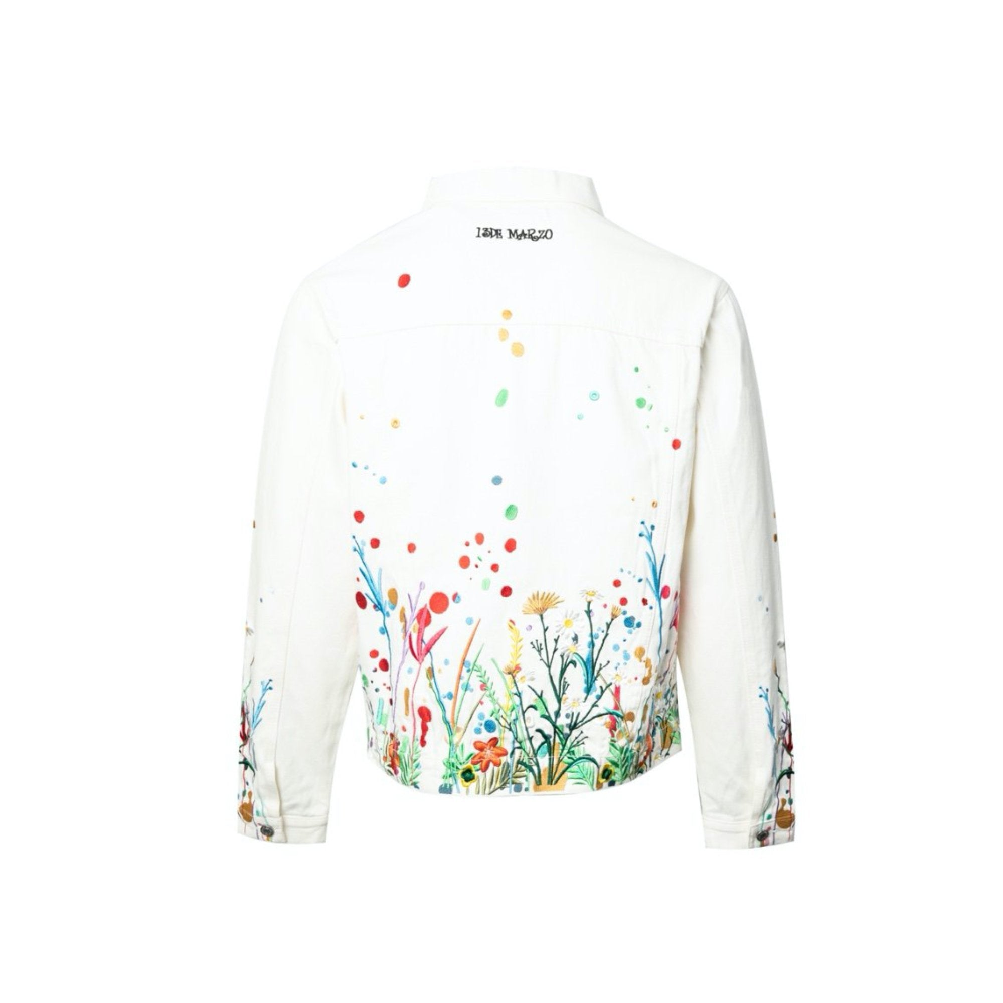 13 DE MARZO Floral Embroidered Denim Jacket White | MADA IN CHINA