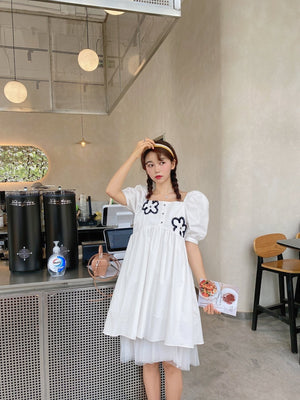 VIAS HERLIAN Flower Bubble Sleeve Dress | MADA IN CHINA