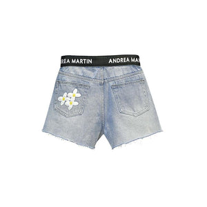 ANDREA MARTIN Flower Denim Shorts Blue | MADA IN CHINA