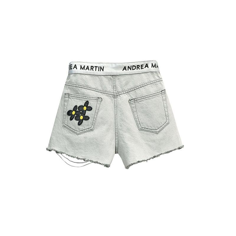 ANDREA MARTIN Flower Denim Shorts Grey | MADA IN CHINA
