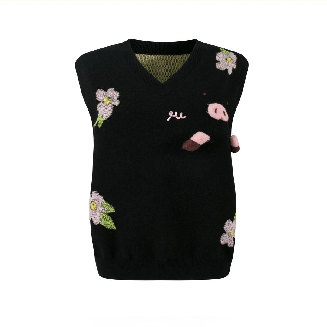 HERLIAN Flower Piggy Jacquard Vest | MADA IN CHINA