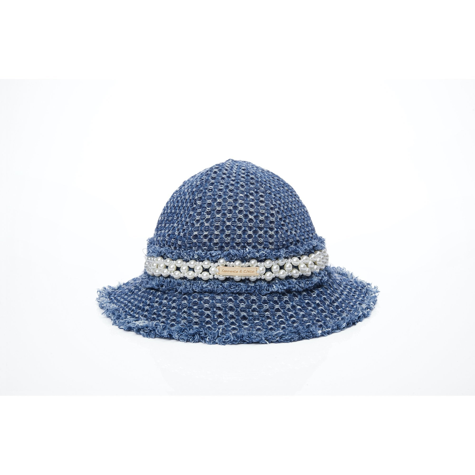 Laurence & Chico Frayed Pearl Denim Bucket Hat | MADA IN CHINA