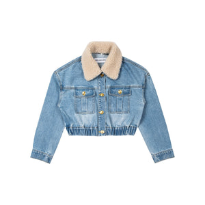 ANN ANDELMAN Fur Collar Denim Jacket | MADA IN CHINA