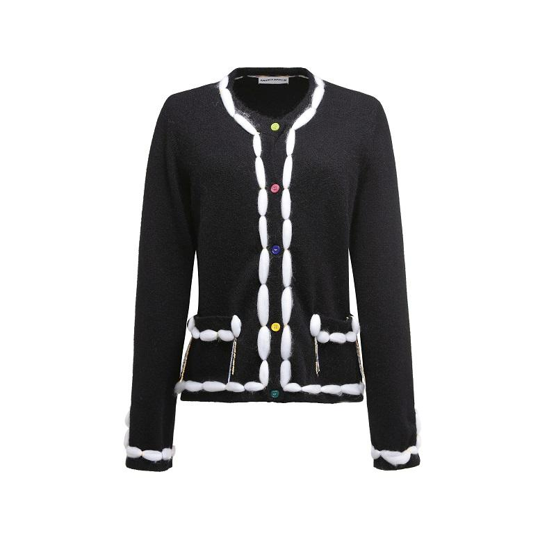 ANDREA MARTIN Furry Knitted Cardigan Black | MADA IN CHINA