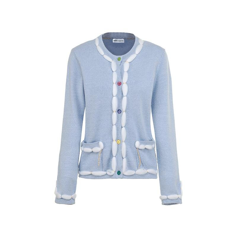 ANDREA MARTIN Furry Knitted Cardigan Blue | MADA IN CHINA