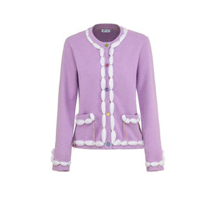 ANDREA MARTIN Furry Knitted Cardigan Pink | MADA IN CHINA