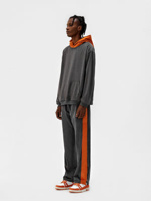 GALLIANO LANDOR Gray Suede Stripe Pants | MADA IN CHINA