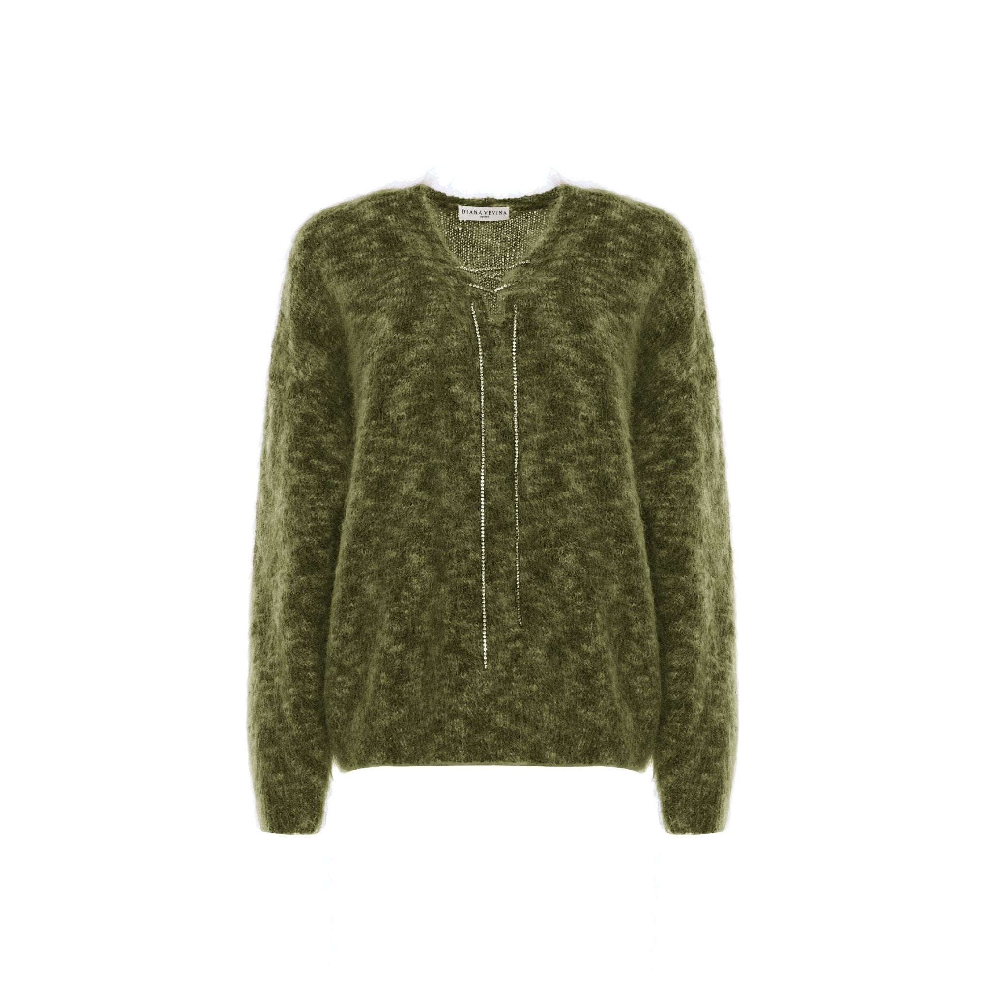 DIANA VEVINA Green Chain Mohair Sweatshirt | MADA IN CHINA