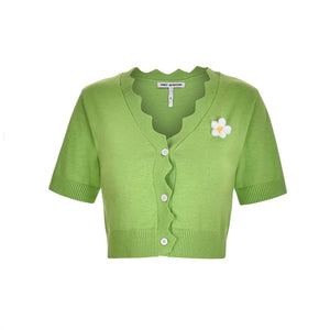 THREE QUARTERS Green Daisy Knitted Top Set | MADA IN CHINA