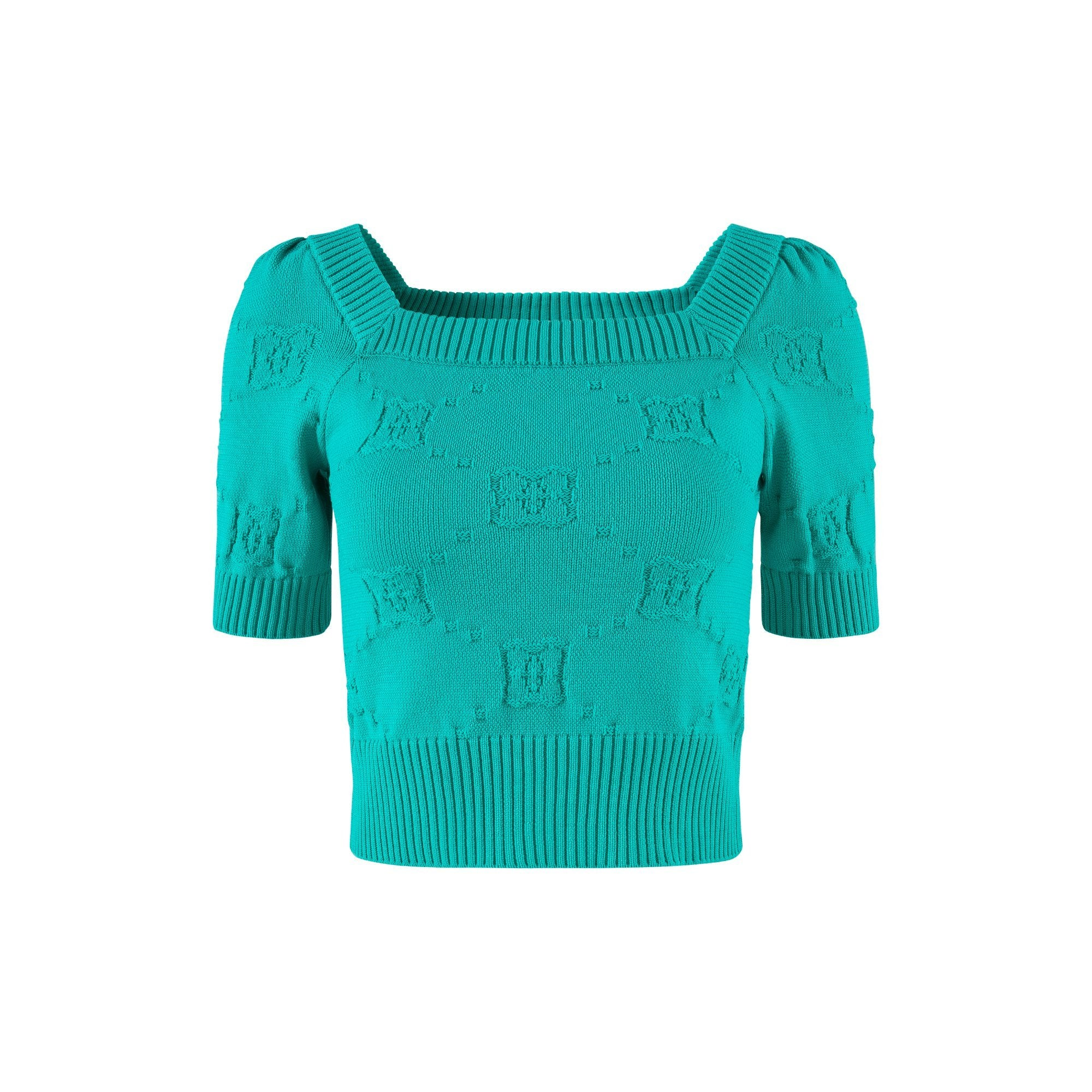 HERLIAN Green Dans La Fleur Vintage Knitted Top | MADA IN CHINA