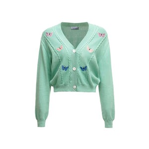 ANDREA MARTIN Green Embroidered Butterfly Cardigan | MADA IN CHINA