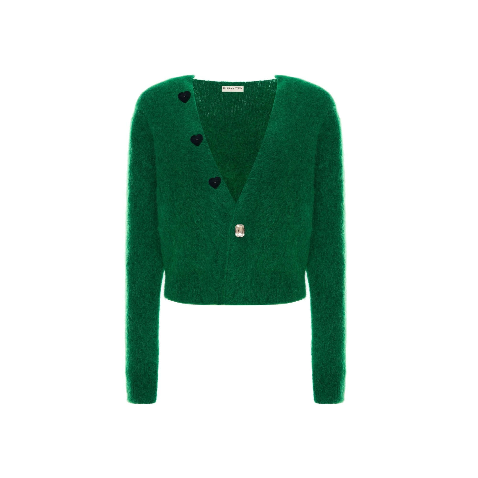 DIANA VEVINA Green Heart Mohair Cardigan | MADA IN CHINA