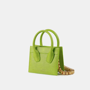 APEDE MOD Green Lizard Poker Face Mini Tote | MADA IN CHINA