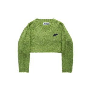 ANN ANDELMAN Green V-Neck Sweatshirt | MADA IN CHINA