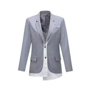 ANDREA MARTIN Grey Asymmetric Blazer Jacket | MADA IN CHINA