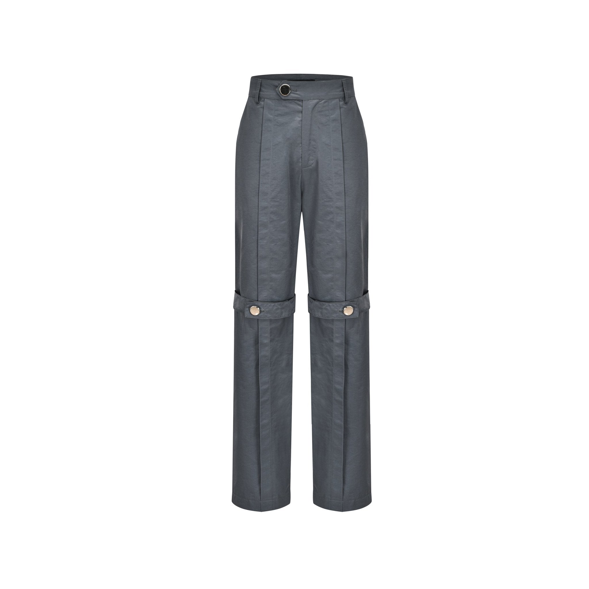 THREE QUARTERS Grey Belt Trousers | MADA IN CHINA