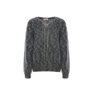 DIANA VEVINA Grey Chain Mohair Sweatshirt | MADA IN CHINA