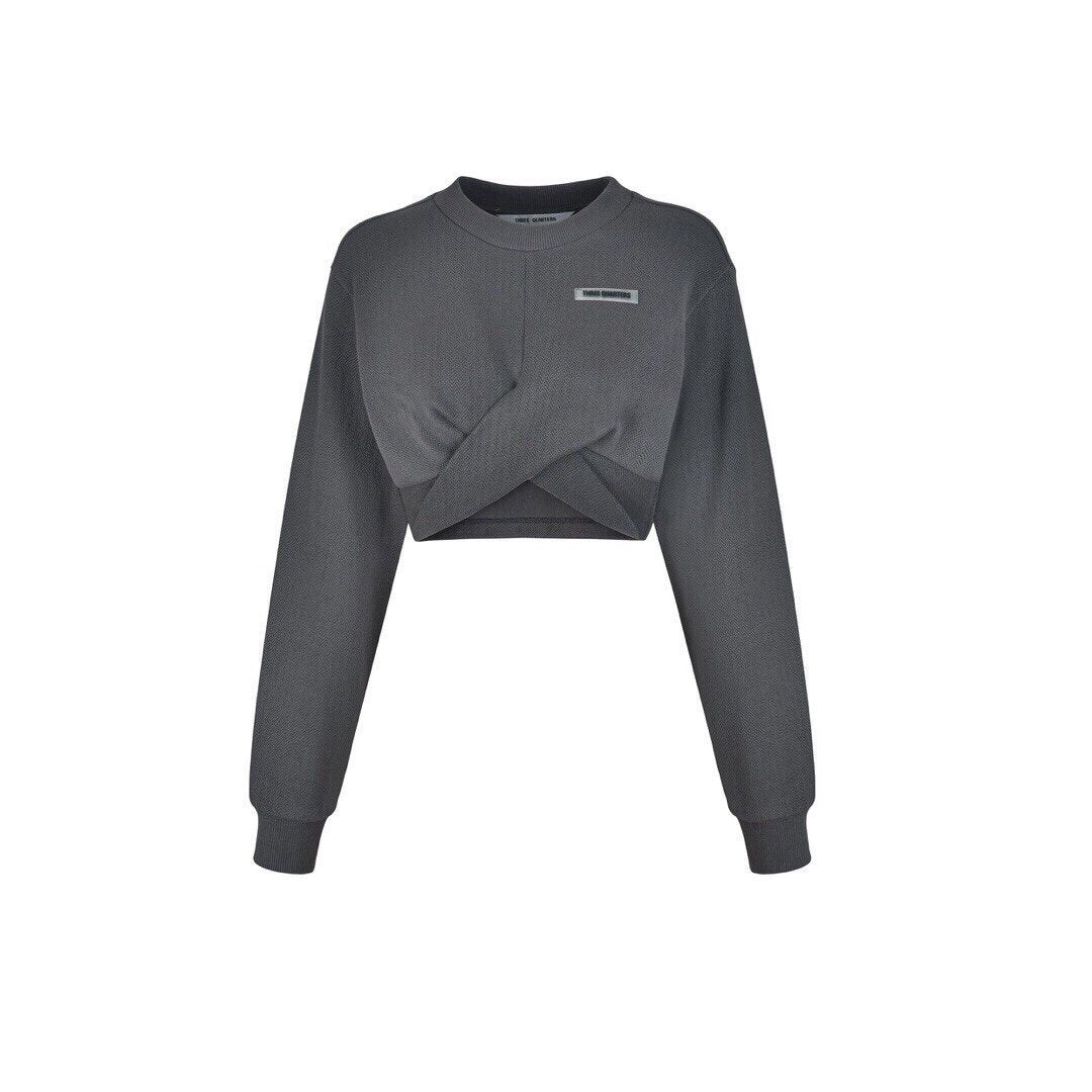 THREE QUARTERS Grey Cross Strap Sweater | MADA IN CHINA
