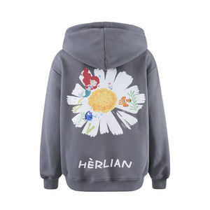 HERLIAN Grey Daisy Print Zipped Hoodie | MADA IN CHINA