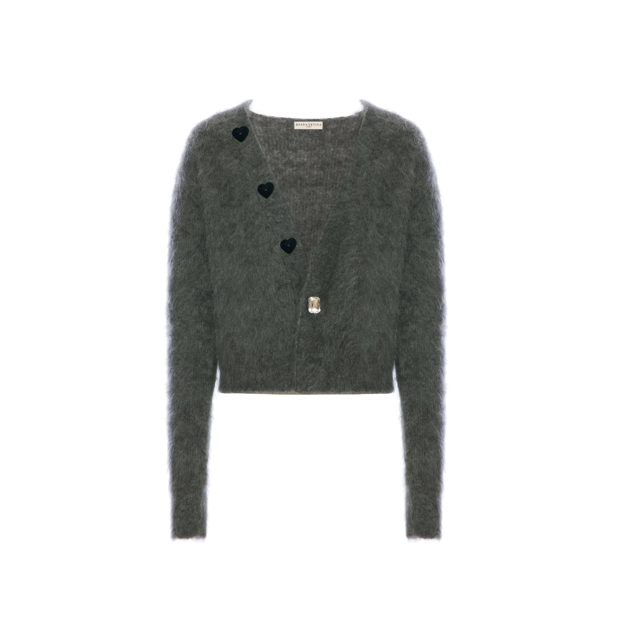 DIANA VEVINA Grey Heart Mohair Cardigan | MADA IN CHINA