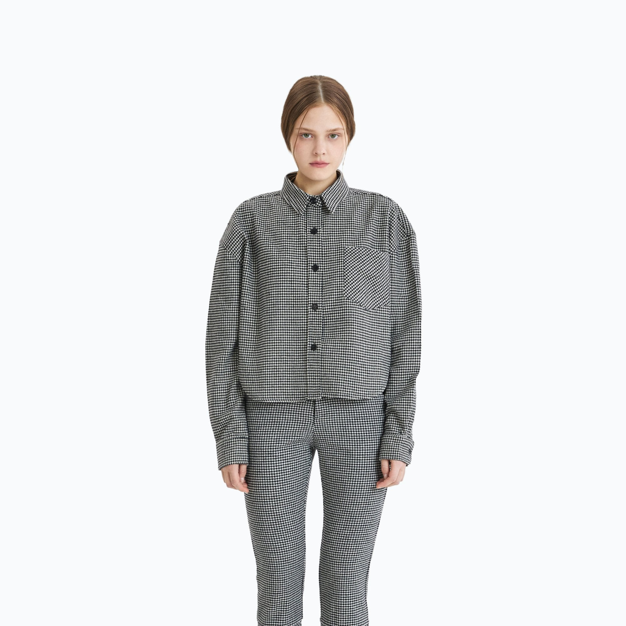 ANN ANDELMAN Grey Houndstooth Shirt | MADA IN CHINA