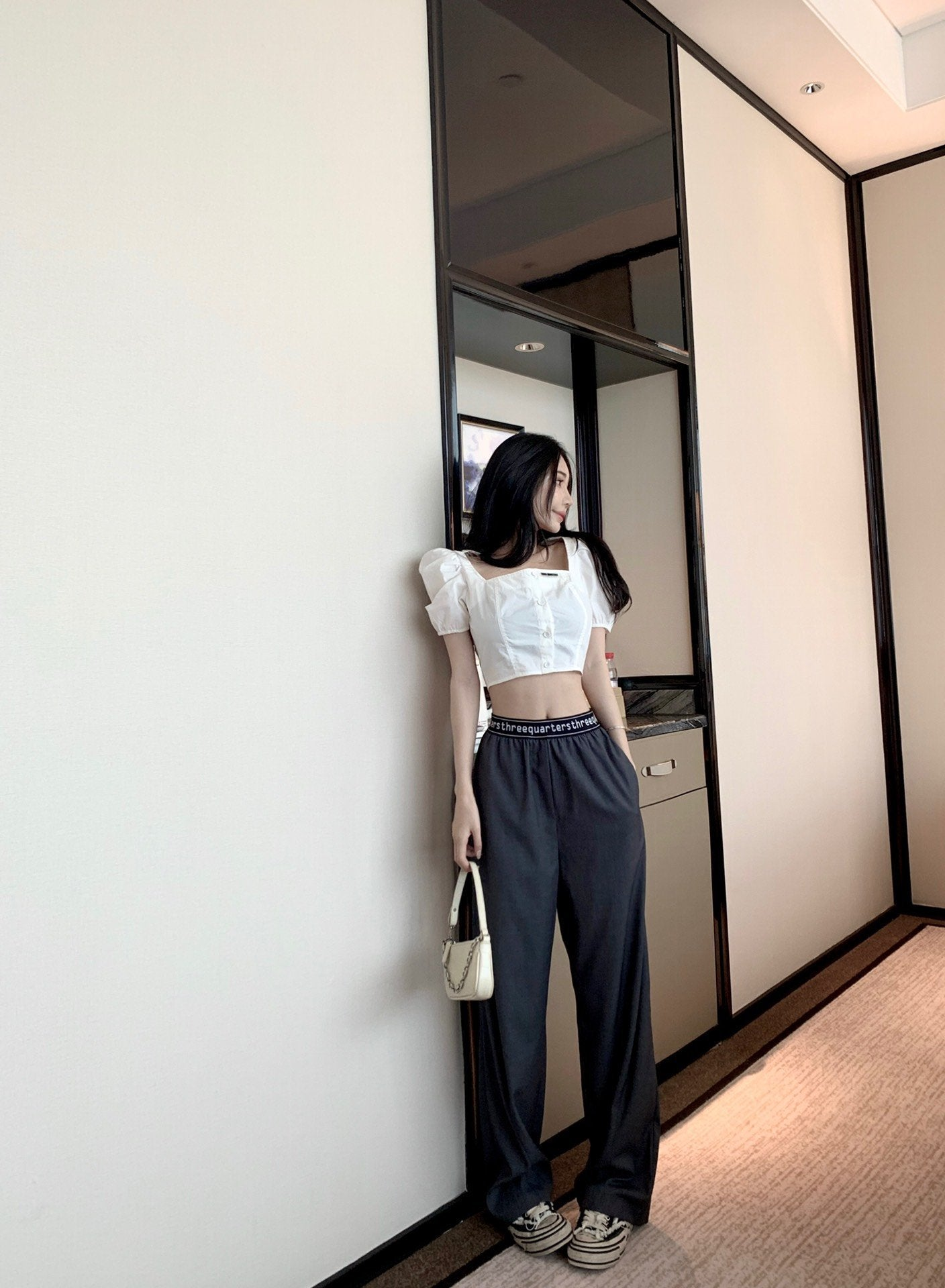 THREE QUARTERS Grey Letter Logo Pants | MADA IN CHINA