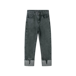 HERLIAN Grey Turned-Up Jeans | MADA IN CHINA
