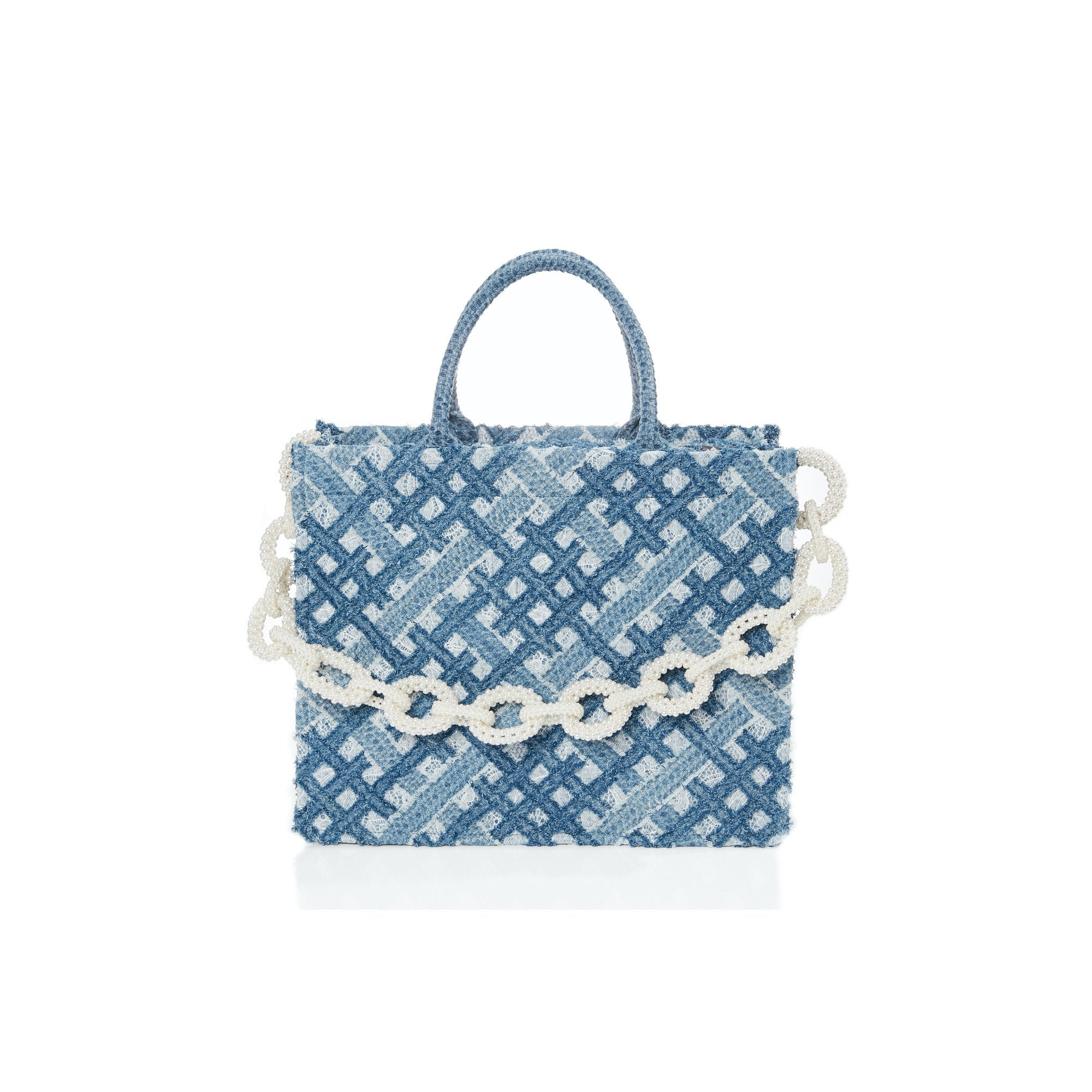 Laurence & Chico Handwoven Denim Lace Large Tote | MADA IN CHINA