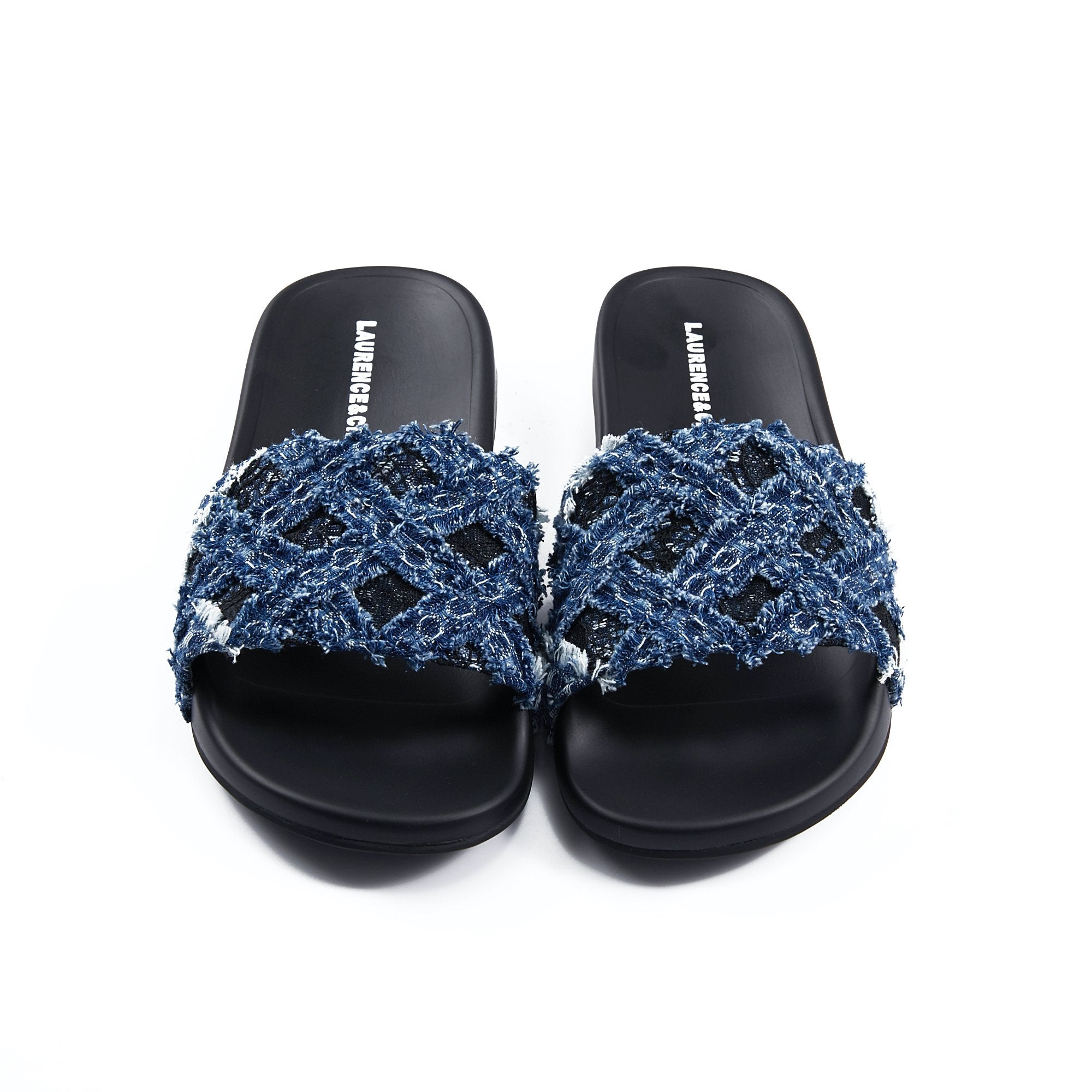 Laurence & Chico Handwoven Denim Lace Reezy Sandals | MADA IN CHINA