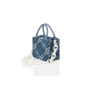 Laurence & Chico Handwoven Denim Lace Small Square Tote | MADA IN CHINA