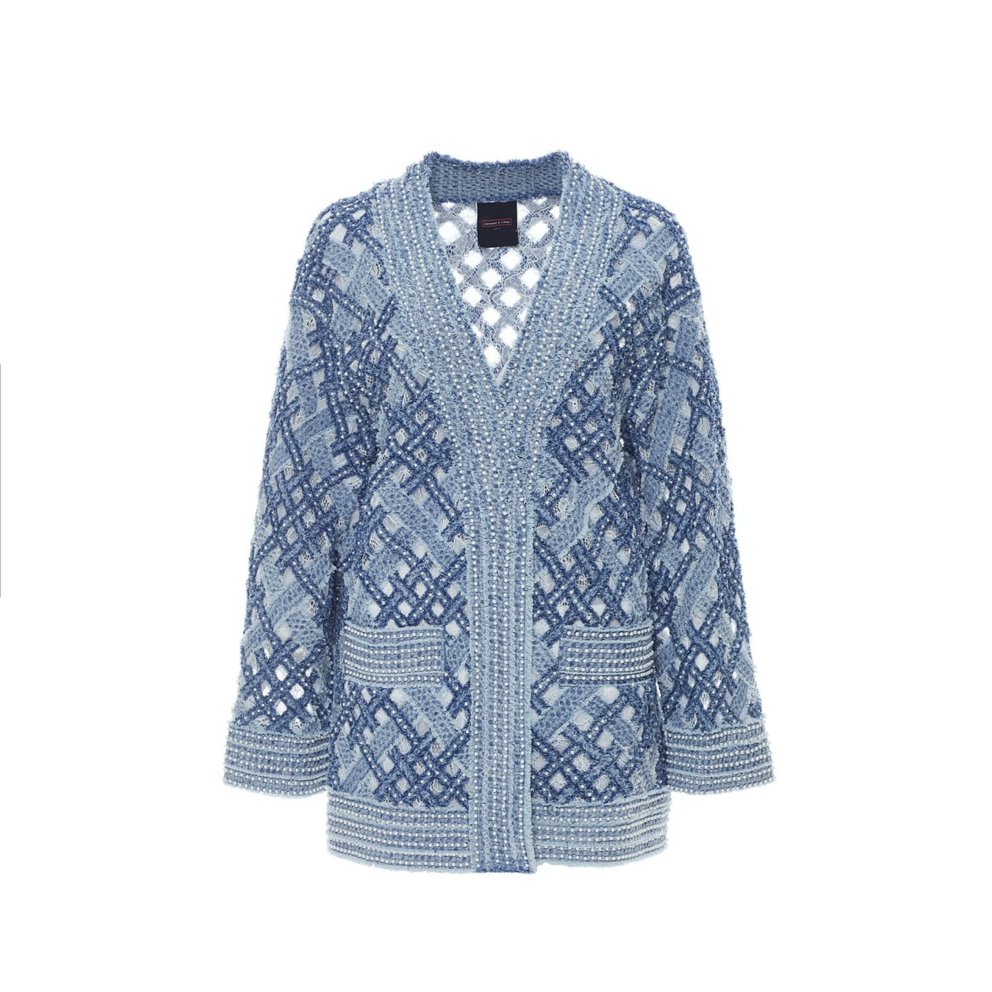 Laurence & Chico Handwoven Denim on Lace Cardigan | MADA IN CHINA