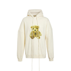 WE11DONE Ivory Embroidered Teddy Hoodie | MADA IN CHINA