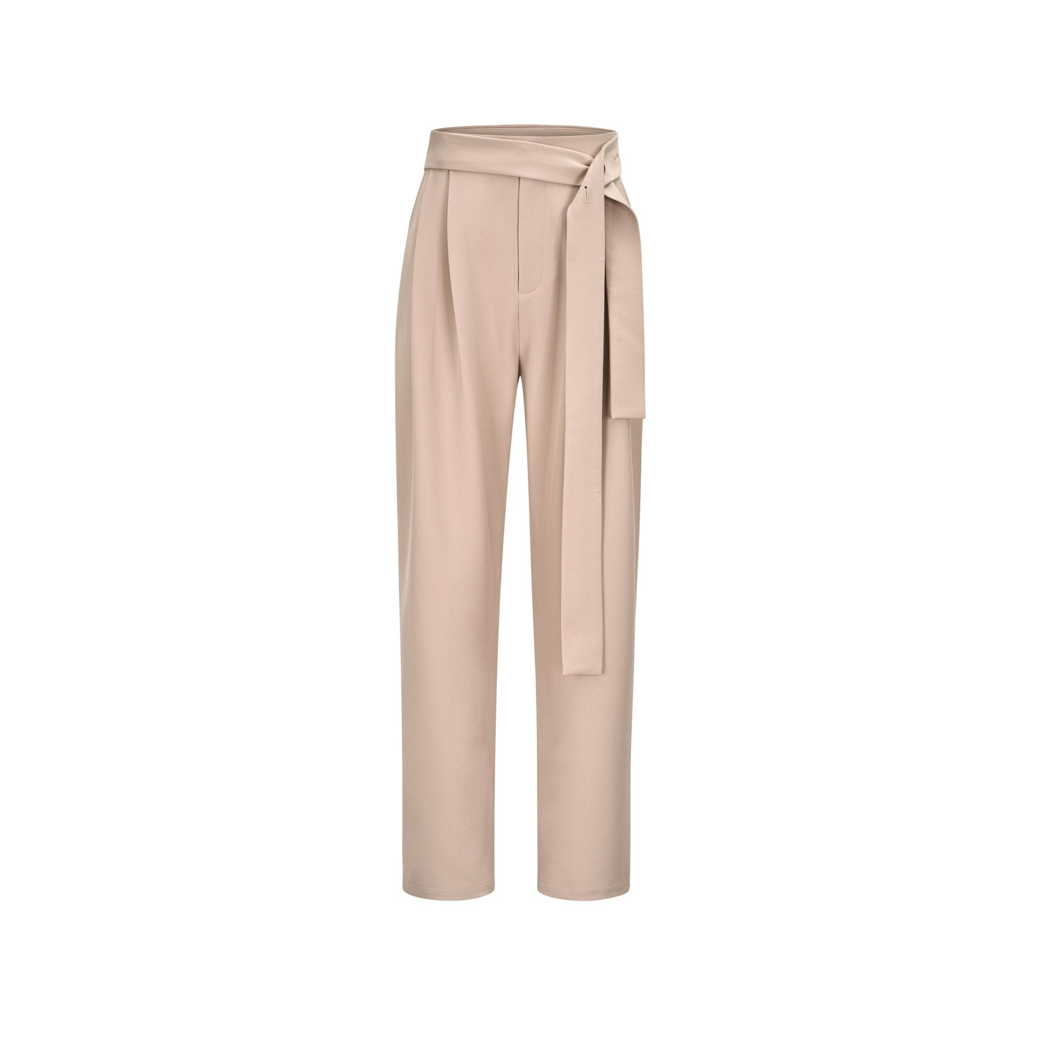 THREE QUARTERS Khaki Belt Trousers | MADA IN CHINA