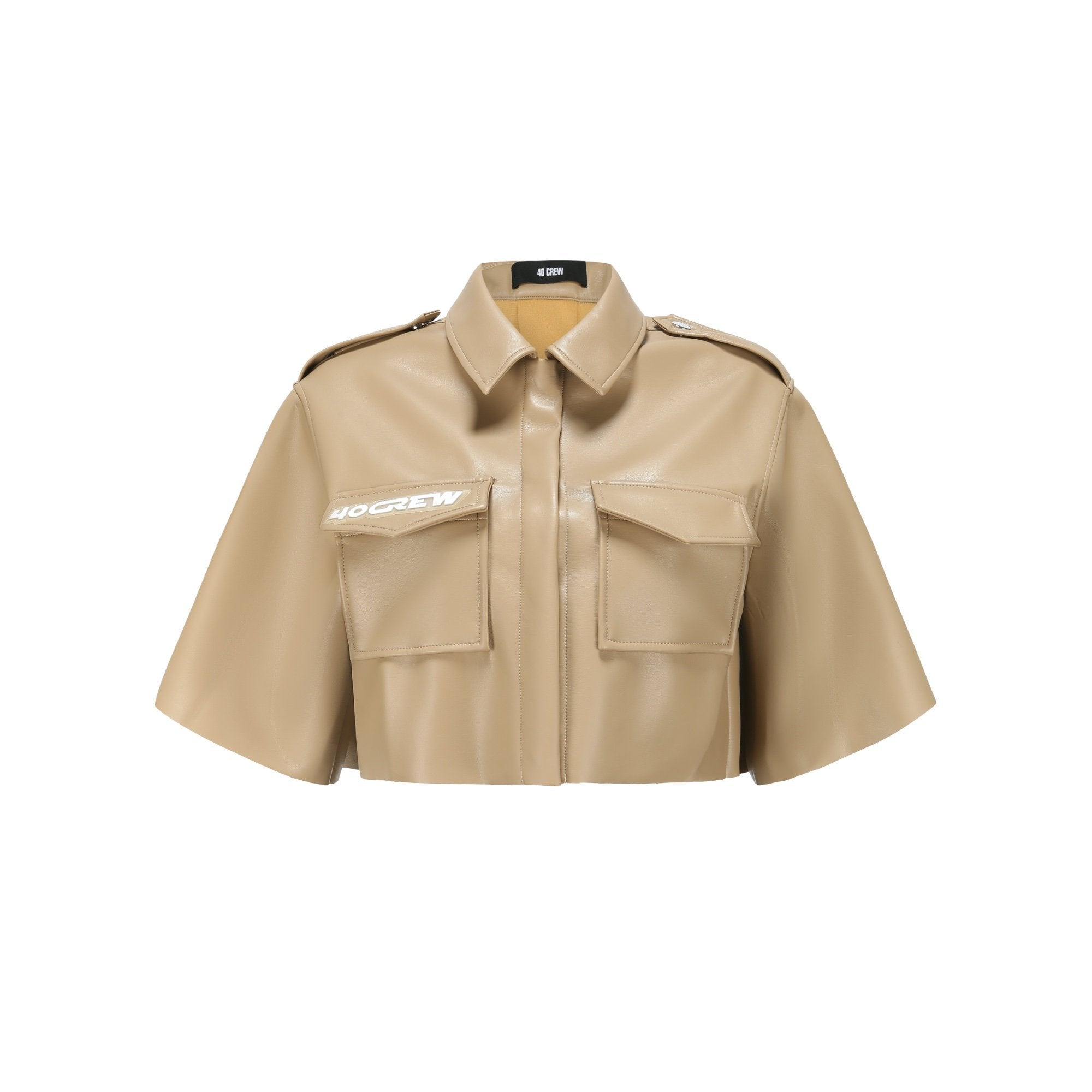 40 CREW Khaki Leather Shirt | MADA IN CHINA
