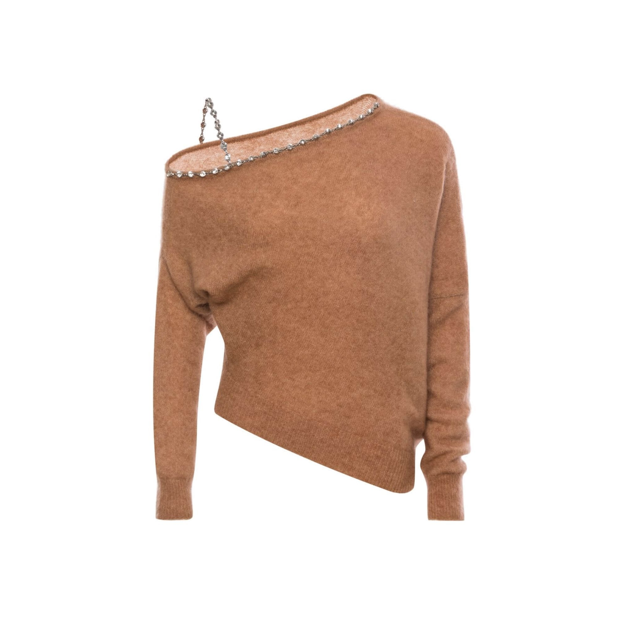 DIANA VEVINA Khaki Off-Shoulder Chain Sweater | MADA IN CHINA
