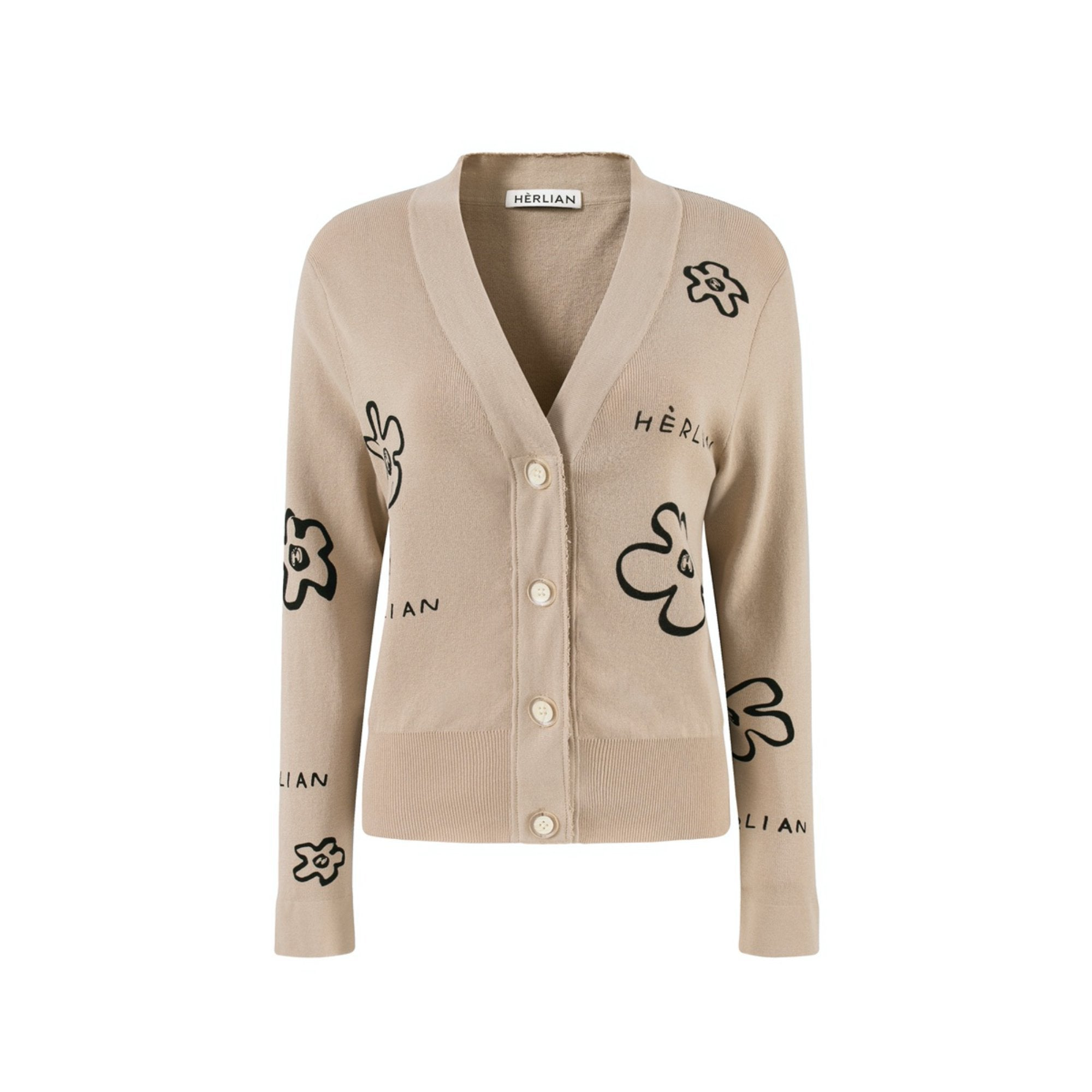 HERLIAN Khaki Painted Flower Cardigan | MADA IN CHINA