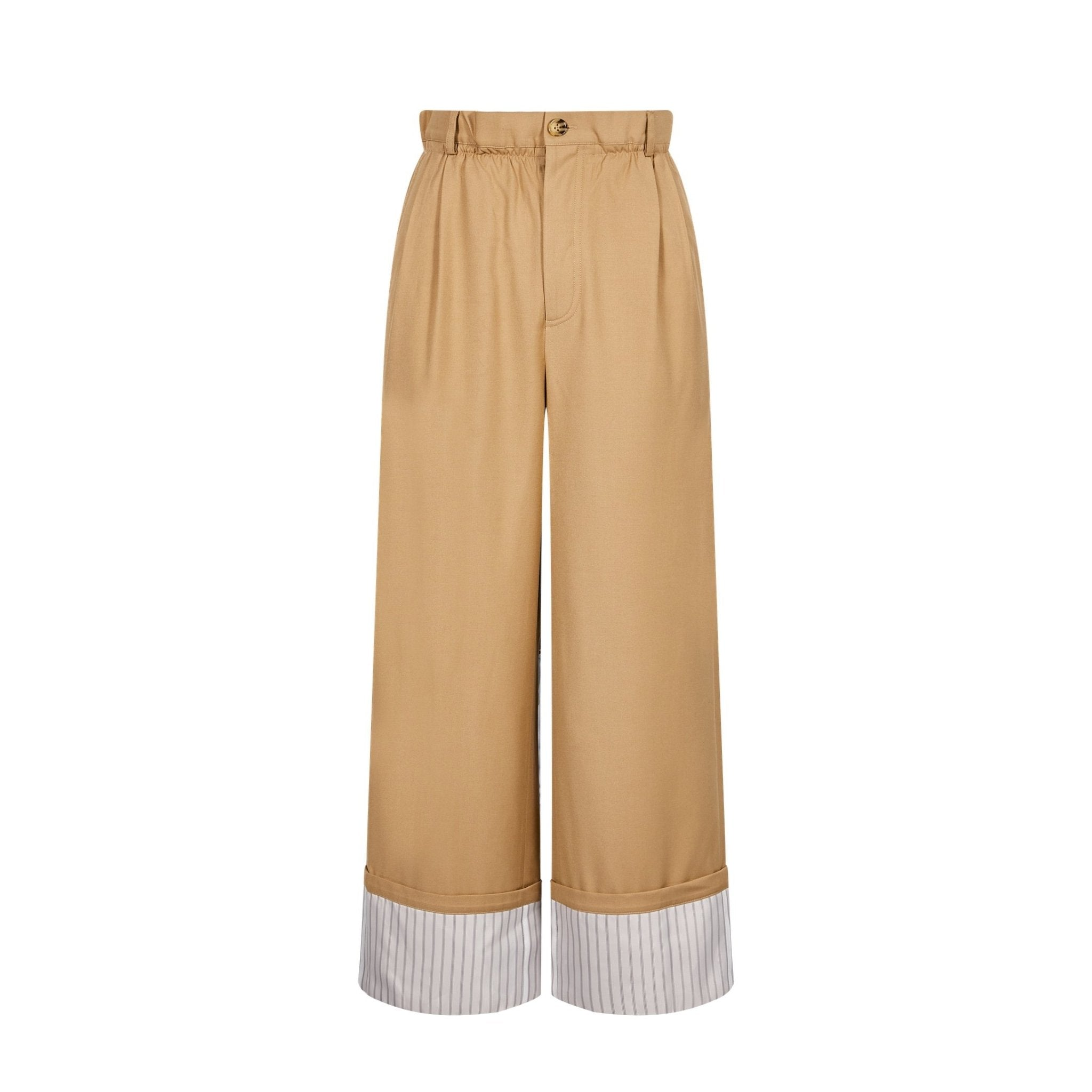 EIMISMOSOL Khaki Ruffled Pants | MADA IN CHINA