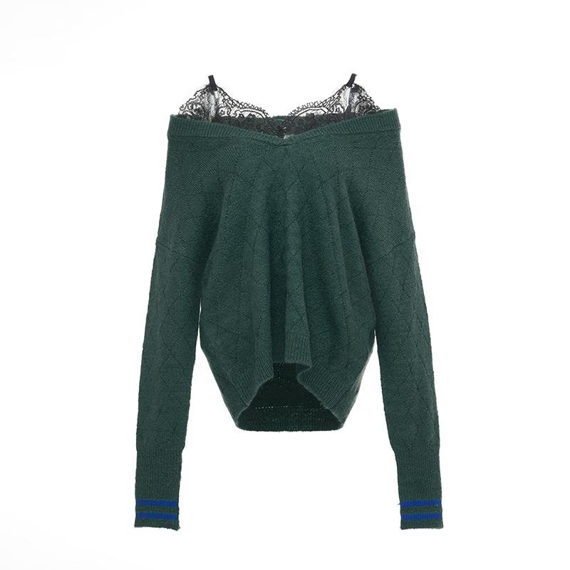 ANDREA MARTIN Lace Embellished Sweater | MADA IN CHINA