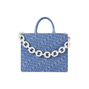 Laurence & Chico Laulau Chichi Jacquard Large Square Tote Light Blue | MADA IN CHINA